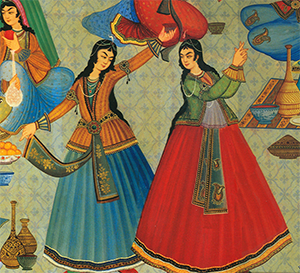 Picture of an Iranian painting showing two women dancing.