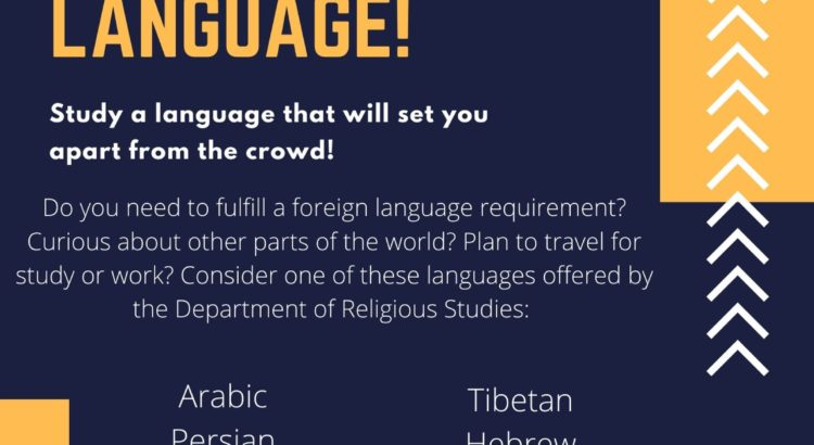 """Navy blue and yellow flyer """"Learn a Critical Language!"""""""