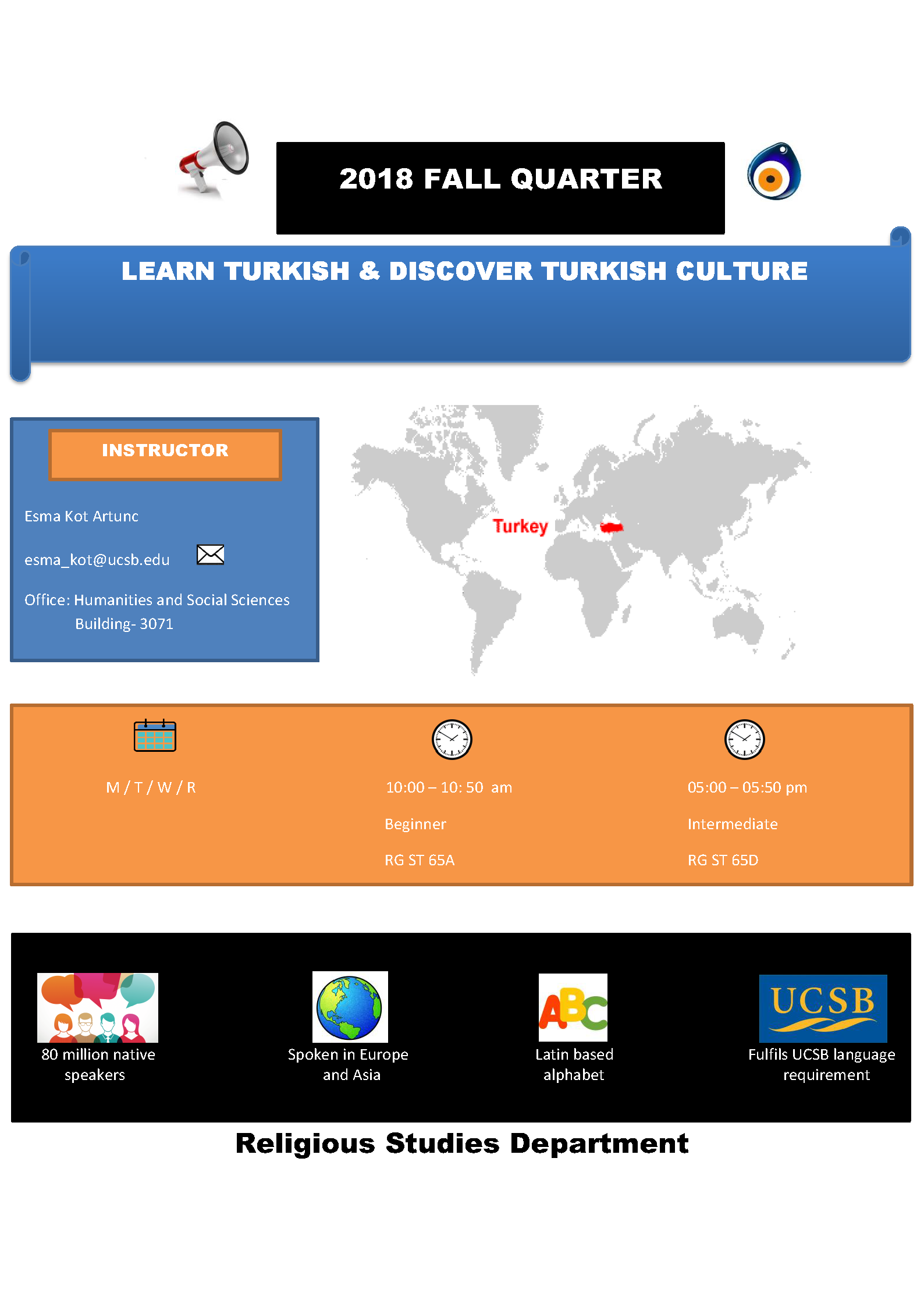 Flier announcing Turkish culture classes.